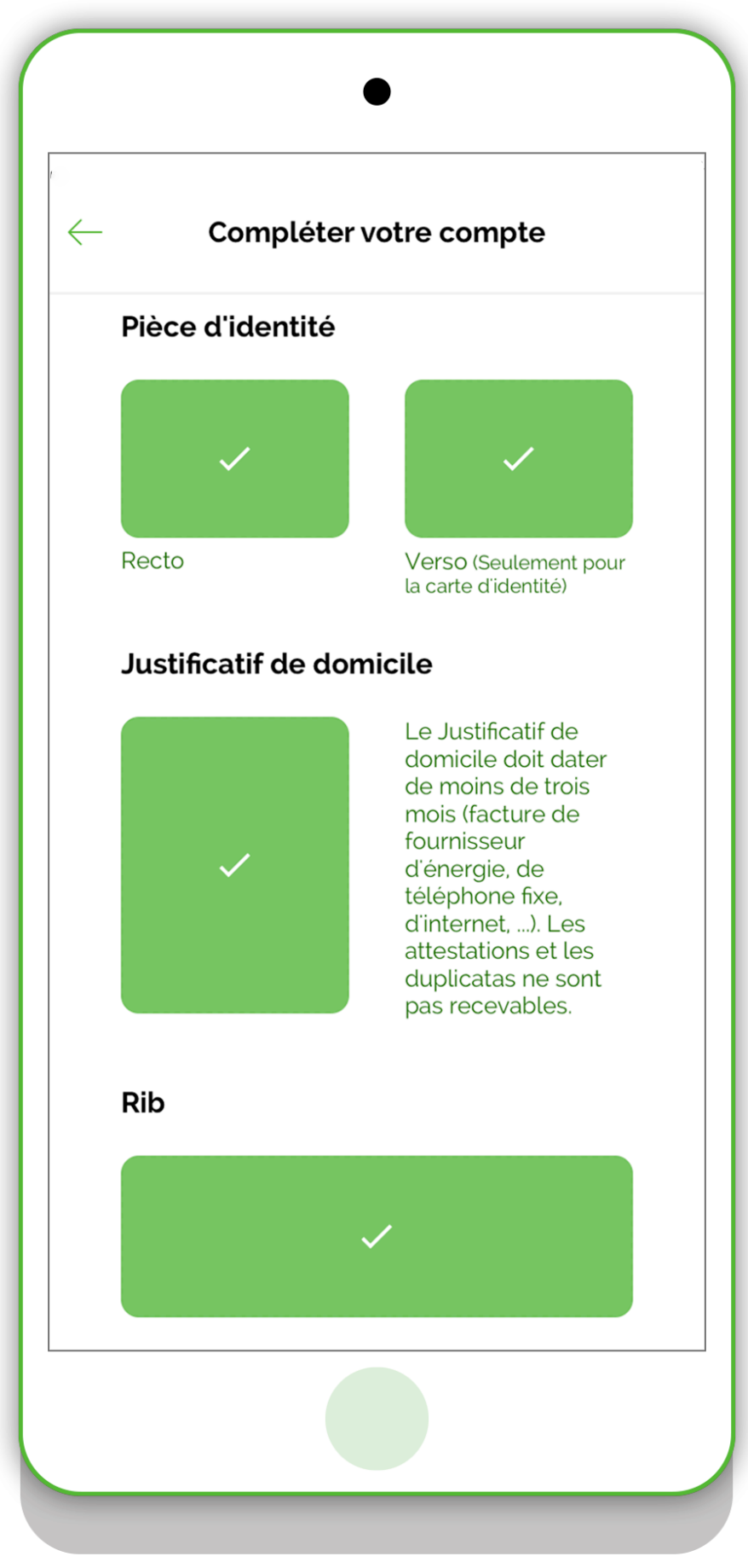 Documents requis VeraCash