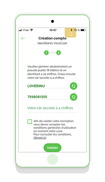Inscription application mobile VeraCash