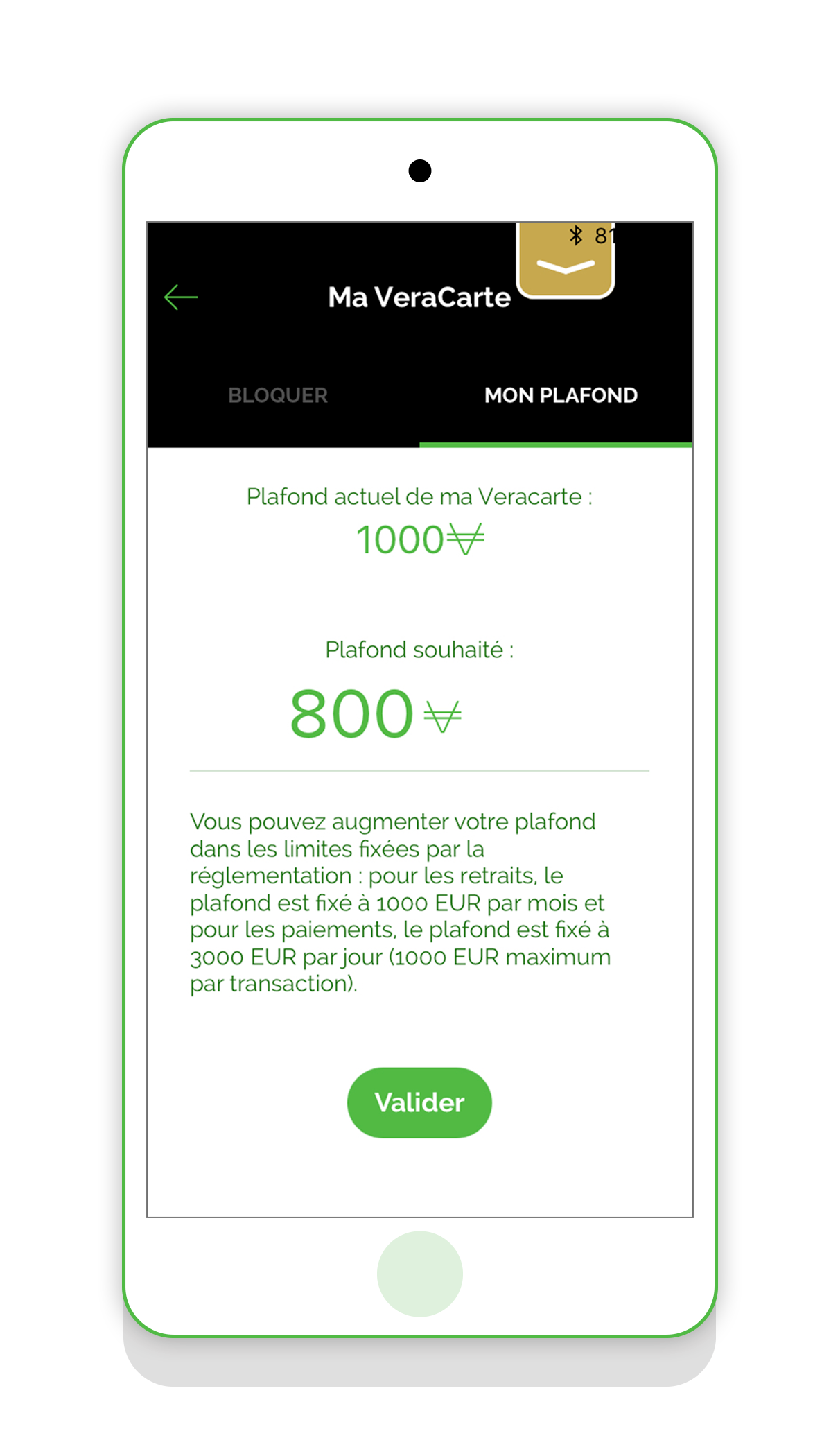Plafond carte VeraCarte application