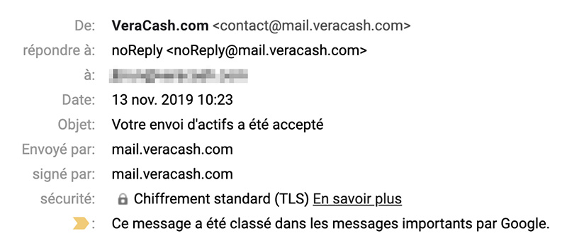Email transactionnel VeraCash®